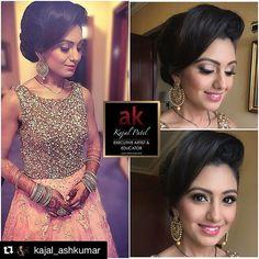 #Repost @kajal_ashkumar (via @repostapp) ・・・ Throwback to the wedding reception look for Kinjal. A more elegant hair and makeup look to go with her glamorous outfit.  Big hair, elegant low bun, soft shimmer smokey eye, glossy lips and contoured face. Love the look! #Makeup #hair #artist #stylist #Mua #wedding #reception #bridal #bride #asianbeauty #ashkumar #ak #educator #executiveartist #internationalartist #henna #mendhi #hennaartist