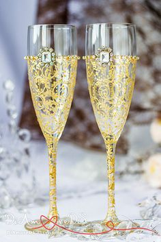 5fd486192668 Gold and Crystal Personalized Wedding Set Champagne Flutes
