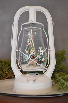 OMG ~ Old lantern turned into cloche.  I have two of these.  Now I must paint and stuff with goodies!!!  YAY!