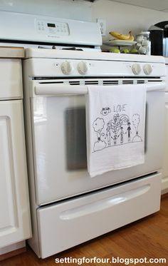 Turn Children's Art Into Tea Towels ~ great DIY gift idea... Grandmas would love them!