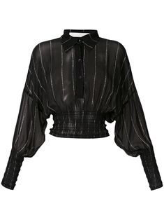 Dion Lee Shirred Stripe Ggt Blouse In Black Dion Lee, Looks Chic, Looks Style, Blouse Back Neck Designs, Blouse Designs, Cool Outfits, Fashion Outfits, Womens Fashion, Casual Outfits