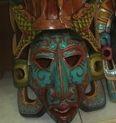 Made To Order Mayan Mask Turquoise Ruby Colored Warrior Multi color Eternal love Headdress Mayan Mask Large Huge Chichen Itza Artisan
