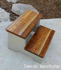 DIY kids stool w/ yardstick steps...sad that I want this myself to reach kitchen cupboards??