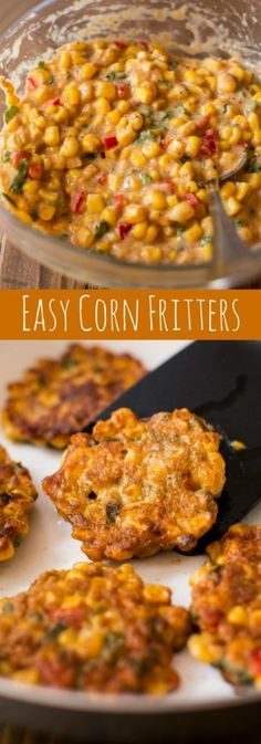 Crispy, savory, and easy corn fritters are all mixed together in 1 bowl. Serve with a cool and creamy honey jalapeño yogurt dip! Recipe on sallysbakingaddiction.com