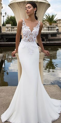 LORIE 2020 New Chiffon Mermaid Wedding Dresses Beach Sleeveless Back illusion Lace Bridal Gown Princess Wedding Party Gowns Simple Sexy Wedding Dresses, Perfect Wedding Dress, Dream Wedding Dresses, Designer Wedding Dresses, Bridal Dresses, Wedding Gowns, Lace Wedding, Lace Dresses, Party Gowns