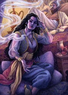 DesertRose,;,1001 Arabian Nights, Sheherazade Illustration 12x16,;,