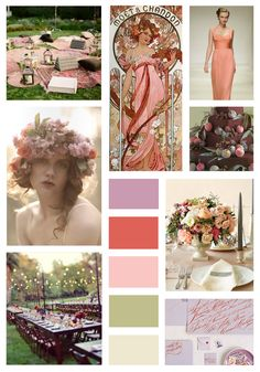 Art Nouveau-inspired palette of lavender, peach, and sage.