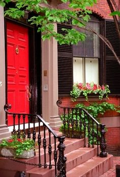 "Boston - Beacon Hill ""Red door on a brownstone"" by David Paul Ohmer Door Entryway, Entry Doors, Front Doors, Front Porch, Front Entry, House Front, Boston Brownstone, Portal, Orange Brick"