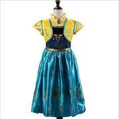 🌹🌹 👄Disney Frozen Anna Princess Costume 👄In stock , Factory price , Low MOQ. 👄Whatsapp Ben (+8618607081193) 👄5sizes (110cm,120cm,130cm, 140cm…