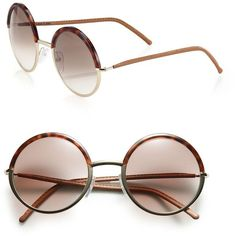 CUTLER AND GROSS 54MM Round Acetate Sunglasses ($650) ❤ liked on Polyvore