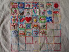 Embroidery sampler squares - I would love to make one of these one day (One Crafty Mumma!)