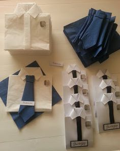 How cute would this be to package gifts for brothers? What you need: Paper for shirt Paper for tie Pin or tie clip/tie bar gift You could add your contact info to the back! Jw Gifts, Gifts For Dad, Origami, Baby Table, Pioneer Gifts, Doll Closet, Fun Crafts To Do, Napkin Folding, Table Arrangements