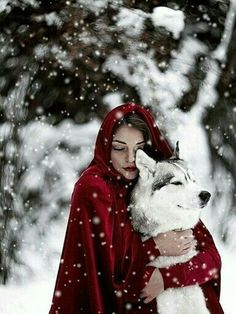 "Almost like in the fairy tale ""Little Red Riding Hood and the Wolf"", here only in an enchanting .- Almost like in the fairy tale ""Little Red Riding Hood and the Wolf"", only here in an enchanting winter world! Illustration Fantasy, Wolf Love, Big Bad Wolf, Fantasy Photography, Photography Ideas, Winter Photography, Tier Fotos, Little Red, Belle Photo"