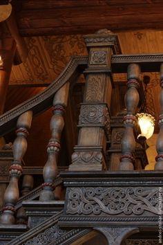 Купить Деревянная лестница с элементами резьбы (6) - коричневый, лестница, деревянная лестница, лестница с резьбой