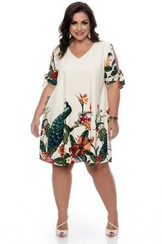 Vestido Plus Size Lucya - Plus Size Summer Dresses, Types Of Dresses, Simple Dresses, Plus Size Dresses, Plus Size Outfits, Lace Skirt And Blouse, Plus Size Sommer, Look Star, Plus Size Kleidung