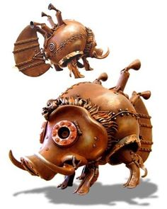 """You can be a big pig too! OI!"" hakuna matata Steampunk Sculptures by Michihiro Matsuoka"