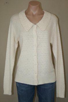 NEW Silk Angora Blend Ivory Embellished Pearls ULTRA SOFT Cardigan Sweater sz M #VictoriaHolley #Cardigan