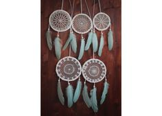 Wholesale  5 Dreamcatchers  Pack of 5 Crochet Dream by bohonest #wholesale #lot #dreamcatchers #package #crochet #green #light #five #home #decor #decoration #art #floral #turquoise #natural #wedding #bridal #gift #bridesmaids #outdoor #altar #nursery #homewares