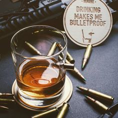 """This has to be the coolest shot glass we have come across, Real bullet taking the word """"Shot"""" to a whole new level. These are hand made to order. Makes a nice unique gift for any shot lover in your family wanting to impress. No gunpowder, No lead, safe to drink from. Cheers!"""