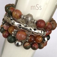 Gemstone Beaded Bracelet Stack of Four  Gemstones: A Mix of 10mm and 12mm Picasso Jasper, Jade and Agate  Silver-Tone Tibetan Caps and Spacer Beads