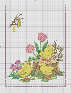 Little chicks picture. Easy Cross Stitch Patterns, Simple Cross Stitch, Cross Stitch Baby, Cross Stitch Flowers, Cross Stitch Designs, Cross Stitch Cards, Cross Stitching, Cross Stitch Embroidery, Embroidery Patterns