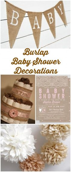 Jute Baby Shower Decorations - Home Page Idee Baby Shower, Shower Bebe, Baby Shower Cakes, Baby Shower Themes, Baby Boy Shower, Baby Shower Gifts, Shower Ideas, Baby Shower Banners, Diaper Shower