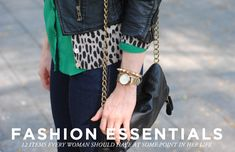 TheEverygirl: Green tunic blouse, leopard Cardi, leather bomber, dark skinnies