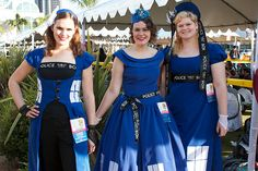 The TARDIS look was popular this year, these three were in the line for Hall H and the Doctor Who panel