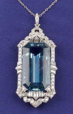 Art Deco Platinum, Aquamarine and Diamond Pendant