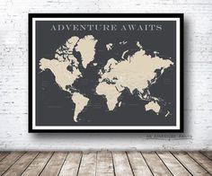 Welt Push-Pin-Karte nur Drucken Reise-Karte von AnAdventureAwaits