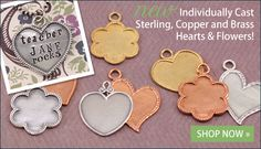 Artisan Hearts & Flowers stamping blanks for hand stamped jewelry from Beaducation