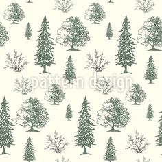 Tree Vector Ornament by Mikhail Volkov at patterndesigns.com Vector Pattern, Pattern Design, Plant Vector, Patterns In Nature, Scandinavian Design, Surface Design, Your Design, Woodland, Tapestry