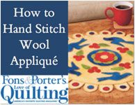 Wool applique - I'd rather use my needle felting machine, but this is interesting!