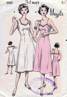 1950s Slip In Two Styles Vintage Sewing Pattern  by BessieAndMaive, $9.00