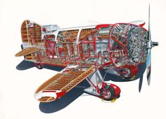 Gee Bee Teardrop-Shaped Racing Aircraft One of the most unusual airplanes ever flown, the Gee Bee Model R Super Sportster made by Granville Brothers Aircraft of Springfield, Massachusetts in 1932 Technical Illustration, Vintage Airplanes, Aircraft Design, 3d Models, Aviation Art, Cutaway, Racing, Springfield Massachusetts, Exploded View