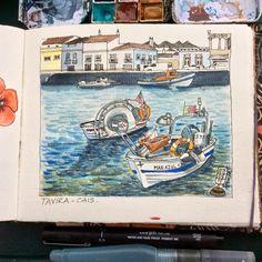 Tavira piers. Algarve. (Uni-pin fine liner#watercolors#fabriano artístico sketchbook#Paula Lourenço)