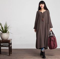 Women Casual Loose Fitting Long Sleeved Cotton and Linen  Dress - Buykud