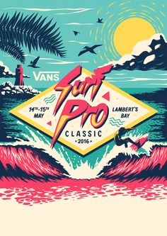 Poster / logo I made for the Vans Surf Pro Classic earlier this year.  Loads of process over on my Behance.