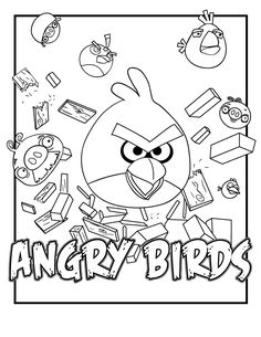 Kids Coloring In Pages - Angry Birds - Great for # parties # play dates # travelling