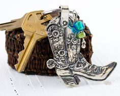 Sterling Silver Cowboy Boot Key Ring with Venetian Glass and Gaspeite Dangle Handmade by my BFF Steve-anna Stephens!