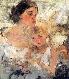 Nicholai Fechin, Mrs. Fechin and daughter, Eya