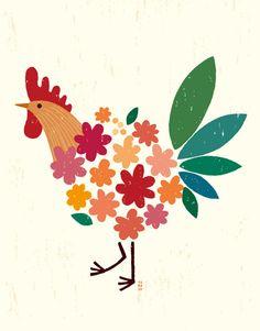Bird of bouquet / Tomoko Suzuki Art And Illustration, Chicken Illustration, Illustrations, Chicken Drawing, Chicken Art, Rooster Art, Scandinavian Folk Art, Chickens And Roosters, Bird Art