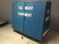Industrial Blue Metal Cabinet On Casters Used by Post Office During Tax Season