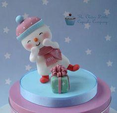 #Christmas snowman #cake #topper