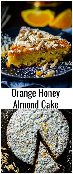 Orange Almond Honey Cake Eight simple ingredients are all you need to make our Sweet, chewy, nutty and satisfying flourless Orange Honey Almond Cake. This Almond Cake makes for a fabulous ending of your Rosh HaShanah, Passover or holiday meal. Passover Desserts, Passover Recipes, Jewish Recipes, Easy Desserts, Dessert Recipes, Cake Recipes, Kosher Recipes, Honey Recipes, Almond Recipes