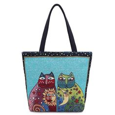 Cat Moon and Sun Canvas Tote Beach Bag