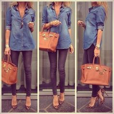 see more Blue Jeans Shirt with Grey Beautiful Jeans, Brown Handbag, Accessories and Leopard High-Heeled Shoes, Street Style