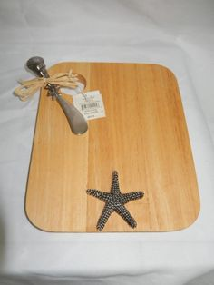 MUD PIE WOOD CHEESE, CUTTING BOARD WITH SPREADER, COASTAL STYLE, BEACH DECOR select styles available at Bella Sei