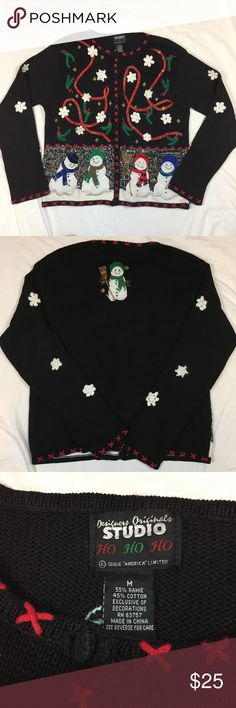 "Black red snowman ugly Christmas sweater cardigan Gently used vintage. Ramie and cotton blend. Fluffy snowmen appliqués with knit hats and scarves. Crotchet snowflake appliqués. Red plaid ribbon. Holly. 22"" from armpit to armpit. 23"" long from shoulder to hem. Sweaters Cardigans"