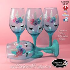 Unicorn crafts Wine Bottles - Hand Painted Wine Glass Teal Unicorn Face Personalized and Custom Painted Wine Glasses, Coffee Mugs & Ornaments Glitter Wine Glasses, Diy Wine Glasses, Decorated Wine Glasses, Hand Painted Wine Glasses, Painting On Wine Glasses, Wine Painting, Wine Glass Crafts, Wine Bottle Crafts, Wine Bottles